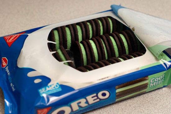Cool mint oreo cookies container.