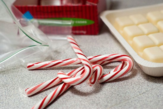Vanilla candy and peppermint candy canes on a table.