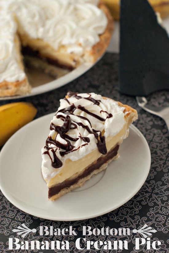 Delicious Black Bottom Banana Cream Pie in a small white plate.