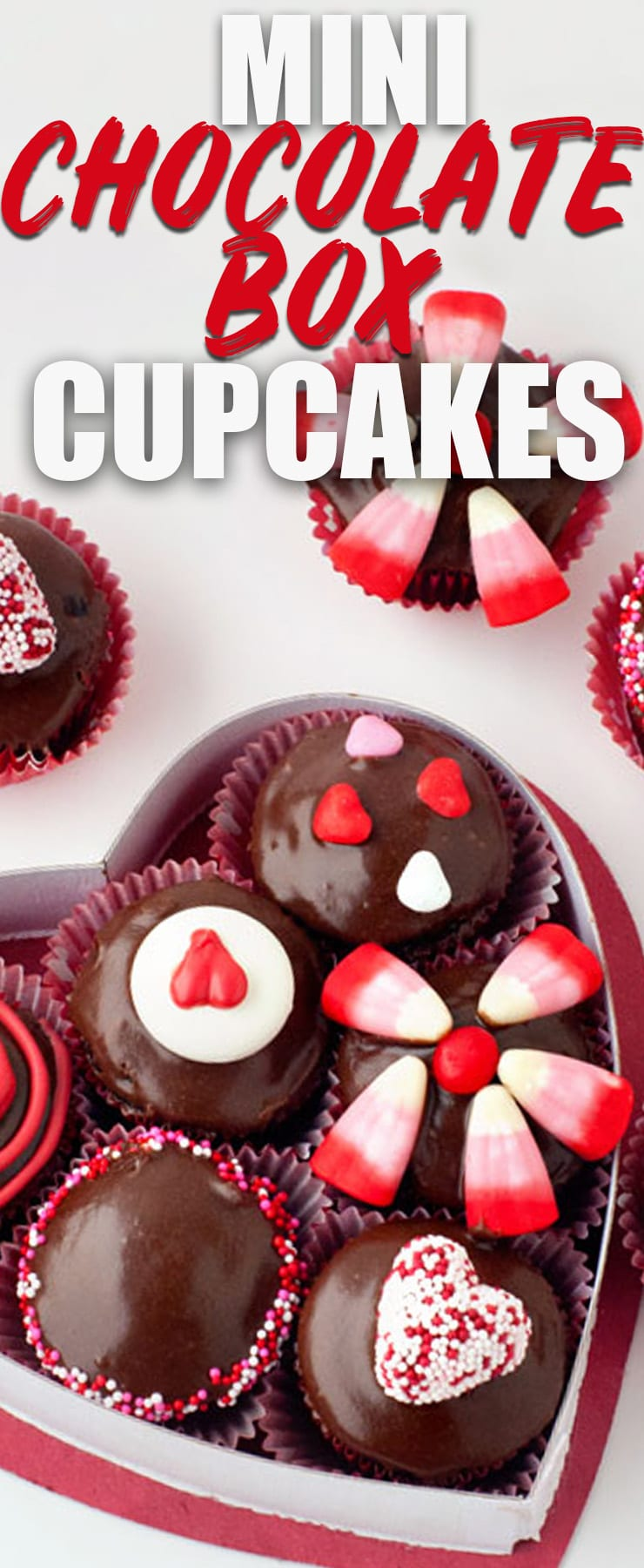 These Mini Chocolate Box Cupcakes are the cutest Valentine's Day dessert you can make! Use cake mix and some creative ideas to turn these into a cute heart box that looks like a box of chocolates!
