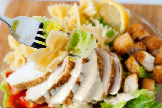 Bowtie Chicken Caesar Salad | heatherlikesfood.com