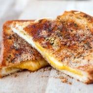 Crispy Garlic Bread Grilled Cheese Sandwiches