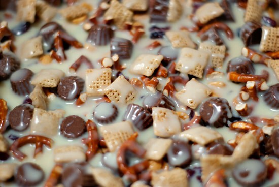Delicious snack mix with pretzels and Reese's cup minis.