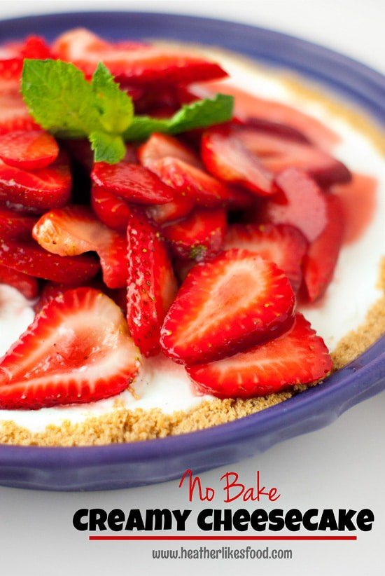 Creamy Vanilla Bean No Bake Cheesecake | heatherlikesfood.com