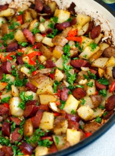 Delicious Potato and Sausage in a large skillet.