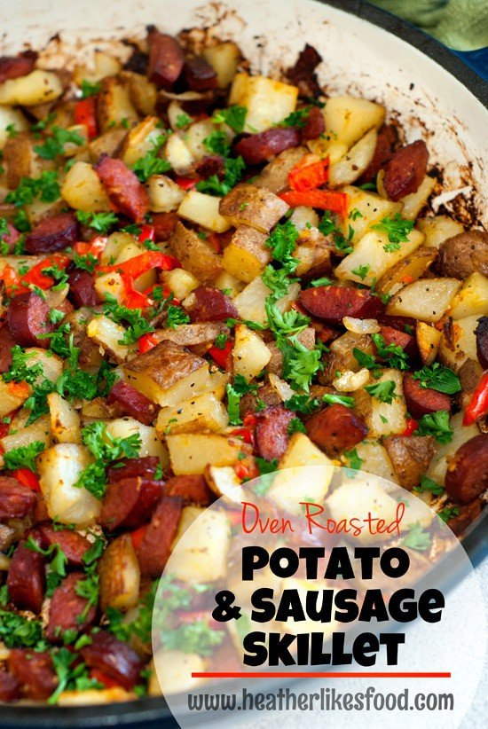 Simple Potato and Sausage in a blue skillet.