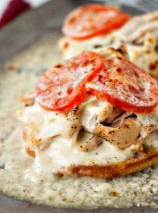 Easy Kentucky Hot Browns with shredded chicken and fresh tomatoes.
