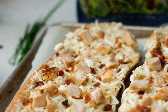 Chicken and Bacon Garlic Bread Pizza | heatherlikesfood.com