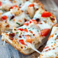 Chicken and Bacon Garlic Bread Pizza
