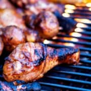 Simple Grilled Chicken on a fire grill.