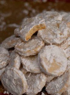 Powdered sugar on Lime Meltaway Cookies.