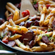Penne with Smoked Sausage and Caramelized Onions