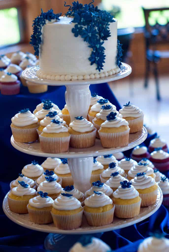 Delicious cake with white frosting and blue flowers surrounded by white cupcakes.