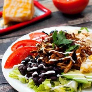 Slow Cooker BBQ Chicken Taco Salad | heatherlikesfood.com