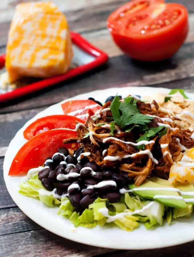Slow Cooker BBQ Chicken Taco Salad