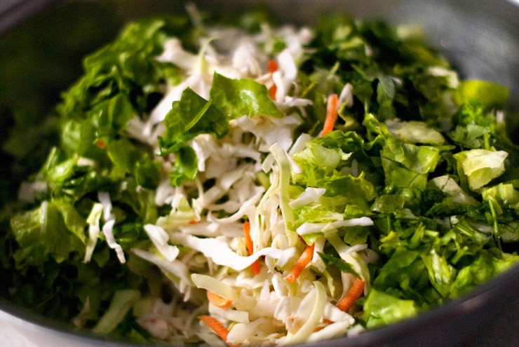 Coleslaw mix in a large silver mixing bowl.