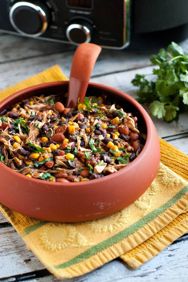 Slow Cooker Salsa Chicken Chili Heather Likes Food