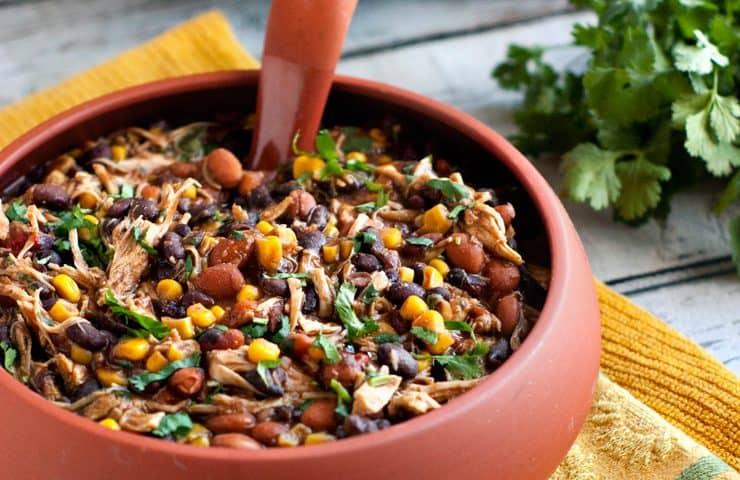 Slow Cooker Salsa Chicken Chili | heatherlikesfood.com
