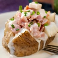 Turkey Ham and Swiss Baked Potatoes | heatherlikesfood.com
