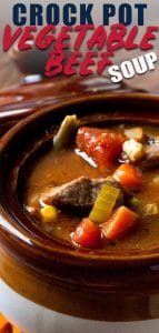 slow cooker vegetable beef soup in soup bowl