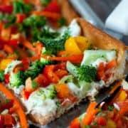 Garden Vegetable Appetizer Pizza | heatherlikesfood.com
