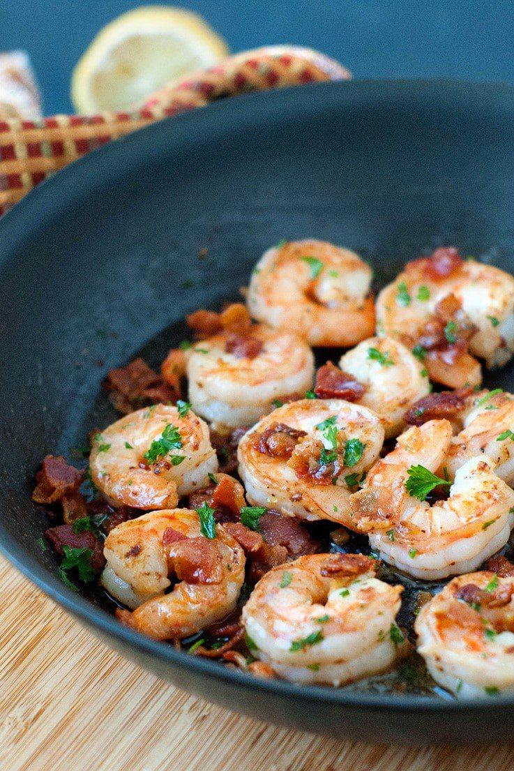 Lemon Bacon Shrimp Scampi | heatherlikesfood.com