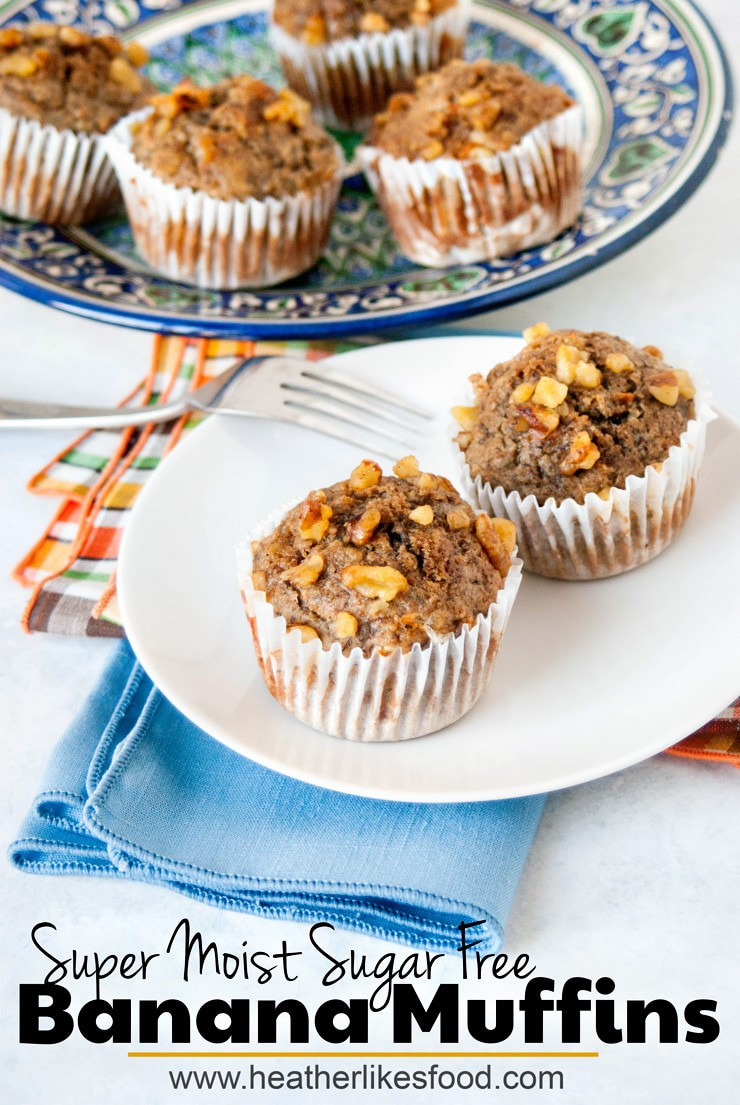Sugar free banana muffins with walnuts on a white plate