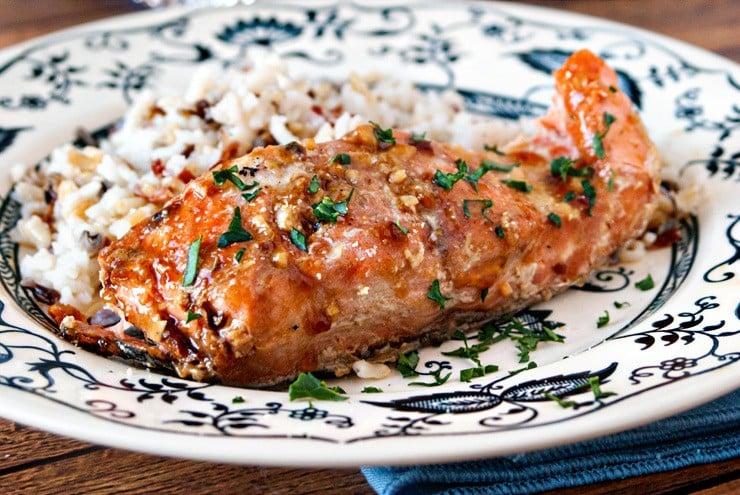Maple Garlic Baked Salmon | heatherlikesfood.com