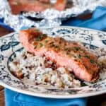 Real Maple Syrup, fresh garlic, and soy sauce make the perfect marinade for this Maple Garlic Bakedsalmon It's lightly sweet and caramelizes so well, you'll never eat salmon another way again. ;)