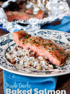 Real Maple Syrup, fresh garlic, and soy sauce make the perfect marinade for this Maple Garlic Baked salmon  It's lightly sweet and caramelizes so well, you'll never eat salmon another way again. ;)