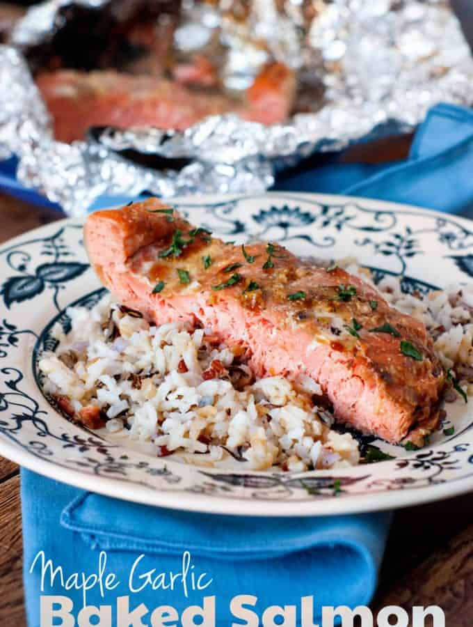 Maple Garlic Baked Salmon