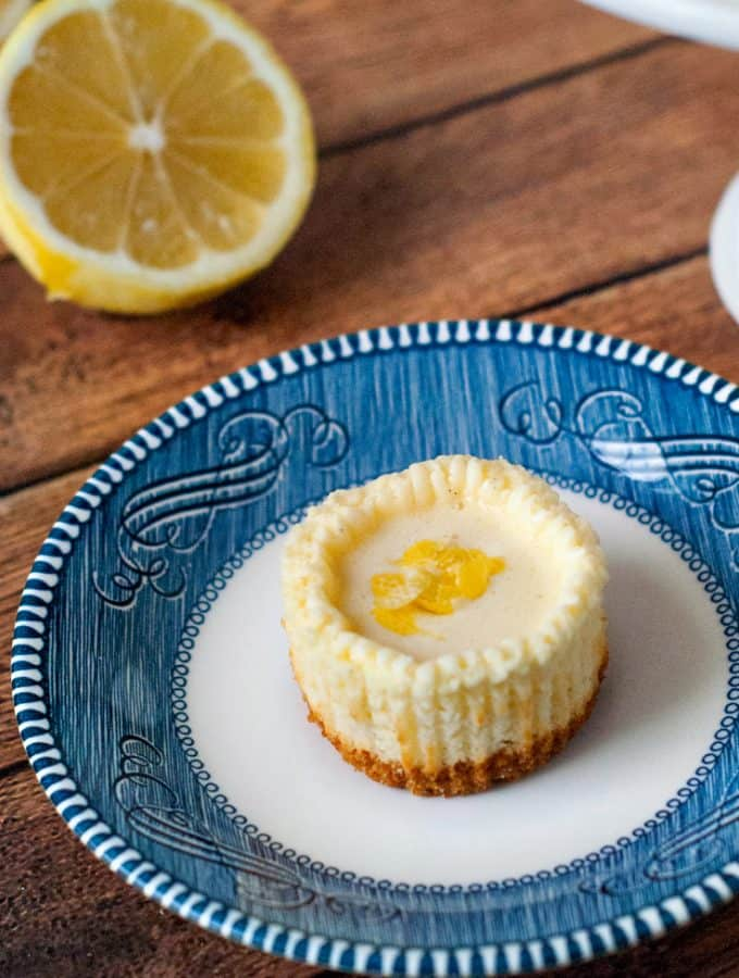 Lemon Vanilla Bean Mini Cheesecakes