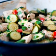Lemon Parmesan Zucchini and Chicken saute | heatherlikesfood.com