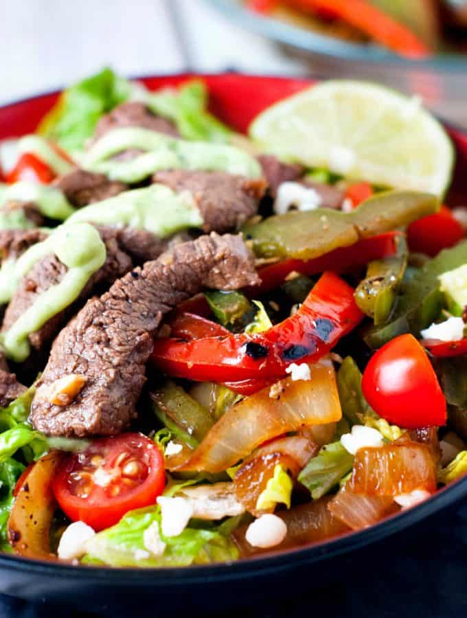 Skillet Steak Fajita Salad with Avocado Cream Dressing