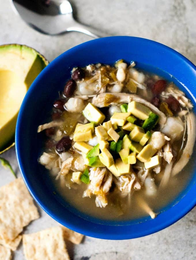This soup is so, so good! It takes only 5 and gets thrown into the slow cooker to cook the day away. The broth is so flavorful and bright and is the perfect weeknight meal.