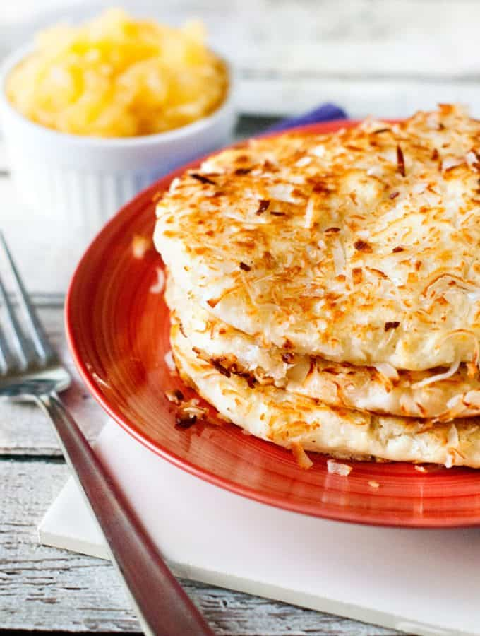 Coconut Crusted Pancakes with Pineapple Compote