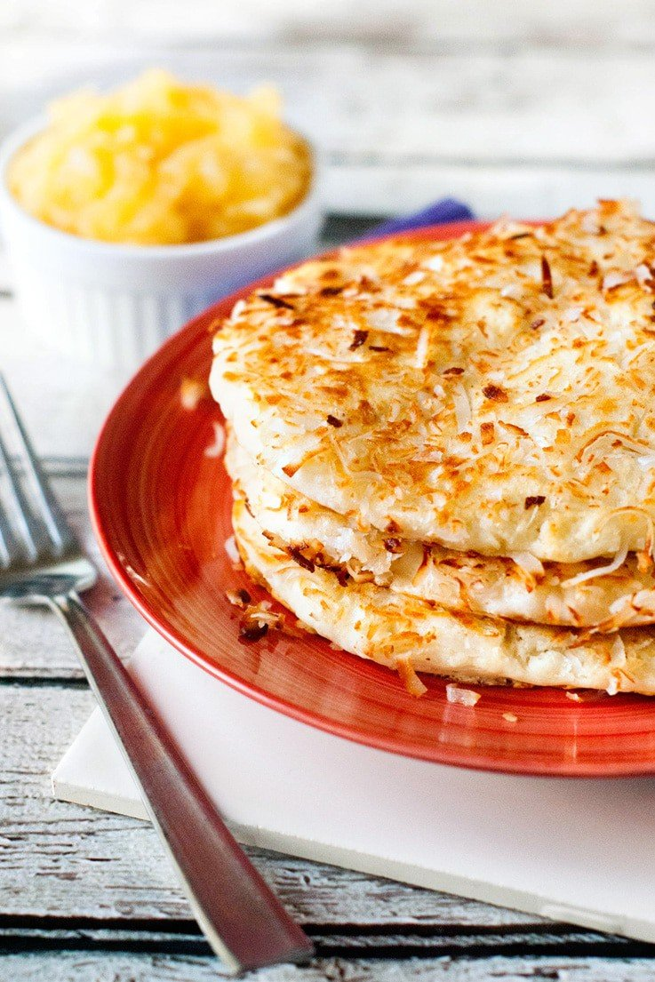 With any regular pancake mix, a little butter and some shredded coconut, you can have a super tasty and fun breakfast on the table in no time!