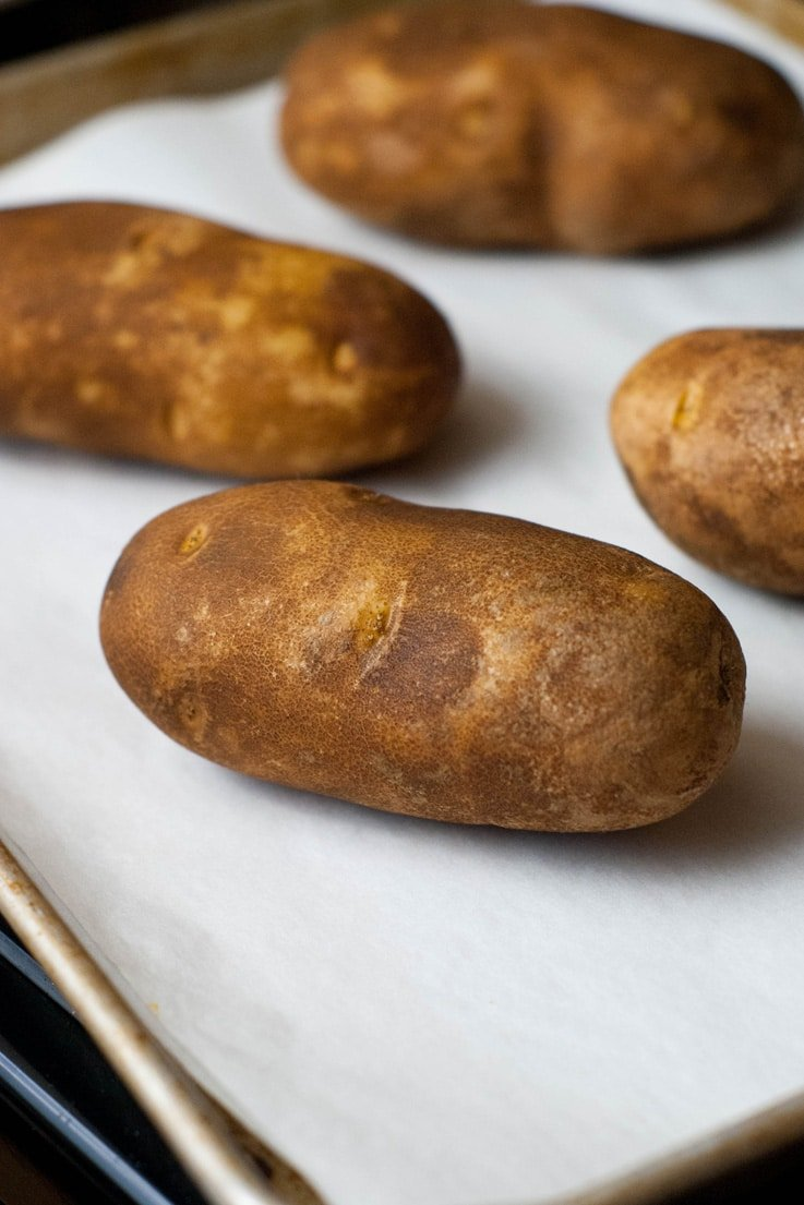 Baked Potatoes just like you get at the fancy steakhouses! Super simple and so, so easy!