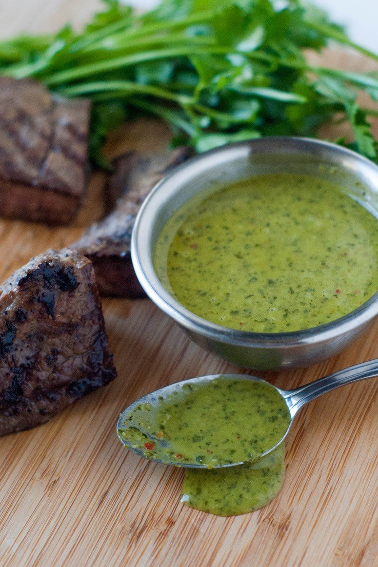 This sauce is awesome on steaks and chicken. Used as a marinade or for dipping, it makes everything taste fresh, bright and like it just came from the garden. A must make!
