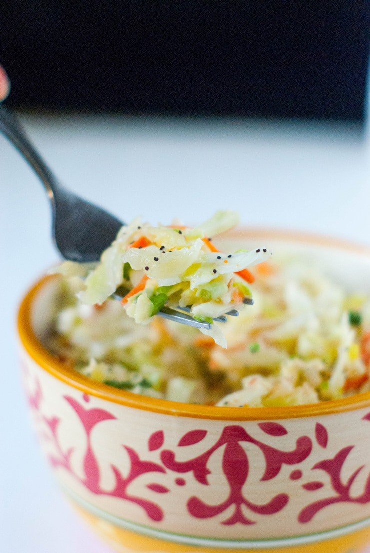 This coleslaw has all the sweetness of a classic coleslaw without the added sugar! Just grate some apple into the mix for a sweet, crunchy and perfect side dish for summer gatherings.
