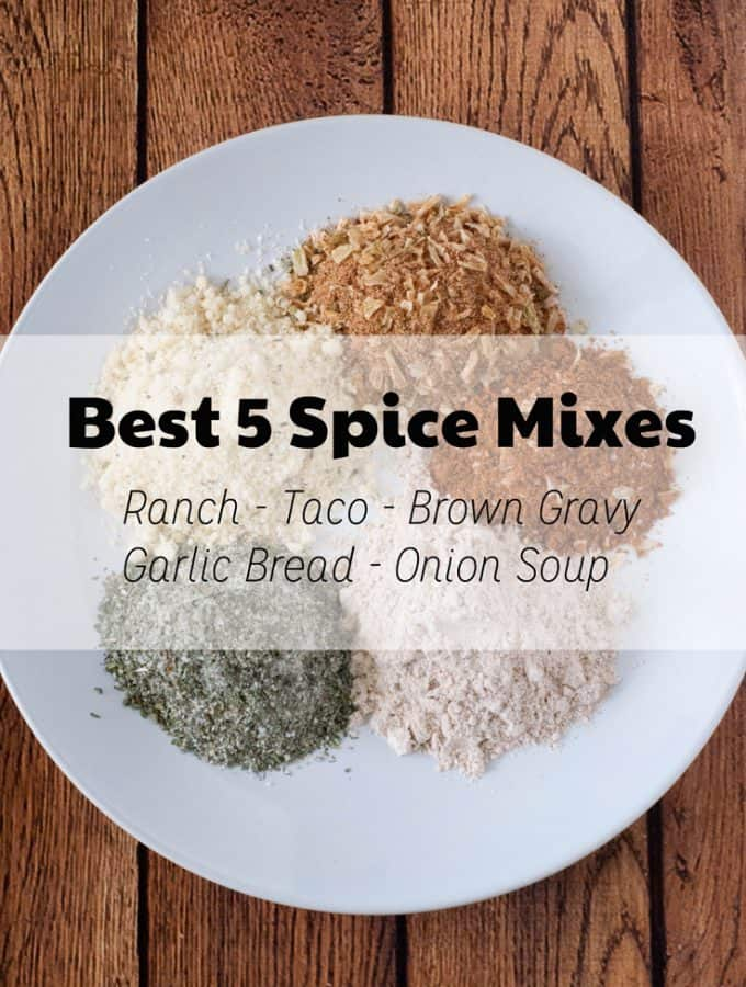 Homemade spice mix recipes for taco, ranch, brown gravy, garlic bread, and onion soup mix. Never buy a packet again!