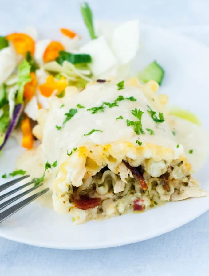 Skinny Chicken Bacon and Pesto Lasagna Roll Ups