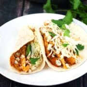 Buffalo Ranch Chicken Tacos | heatherlikesfood.com