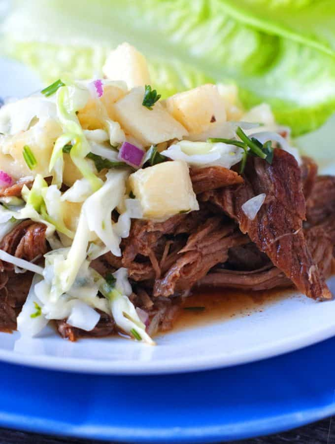 Smoky Slow Cooker Pulled Pork with Pineapple Slaw | heatherlikesfood.com