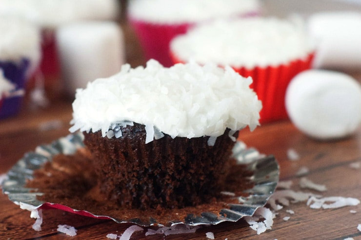 Use a marshmallow to frost these easy cupcakes and top with coconut for a treat that will take you back to your childhood!
