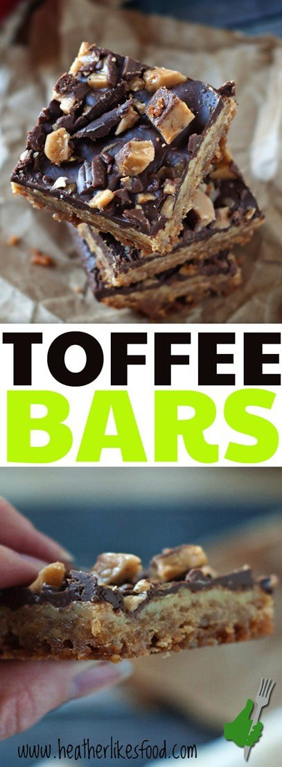 This homemade toffee bar recipe is easy and just PERFECT! They come complete with a shortbread crust, sweetened condensed milk center, and heath bar topping-- perfect for your Christmas Cookie Plates!