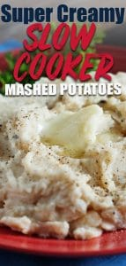 Slow cooker mashed potatoes with butter on top