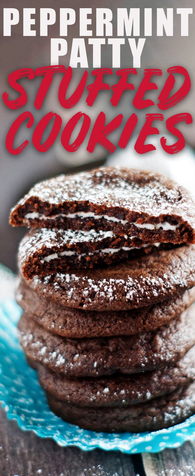 These chewy chocolate cookies are stuffed with peppermint patties! Grab the easy recipe now because these disappear first from every Christmas Cookie Plate I put them on! #cookies #christmas #peppermint #chocolate