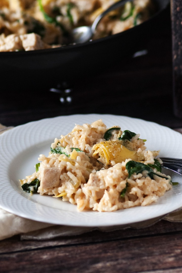 One Pan Spinach Artichoke Chicken and Rice