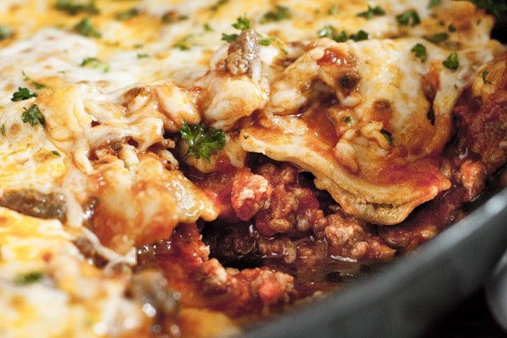 One Pan Frozen Ravioli Lasagna